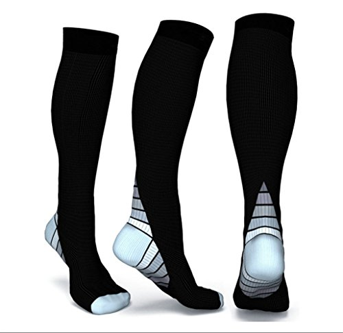 Graduated Compression Socks for Men & Women, BEST Athletic Fit for Running, Cycling, Nurses, Shin Splints, Air Travel,Foot Support & Maternity Pregnancy. Boost Stamina, Circulation, & Recovery -2 Pair by H-Brotaco (Image #1)