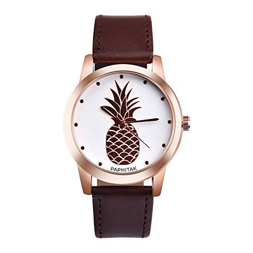 Womens Mens Unisex Quartz Watch,PAPHITAKI Pineapple Pattern Unique Analog Fashion on Sale Casual Wrist Watches for Women Men,Round Dial Case Comfortable PU Leather Watch-H44 - Unique Womens Fashion