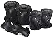 Skybulls Kids/Adult Protective Gear,Knee Pads and Elbow Pads Wrist Guards 3 in 1,Safety Pads Set for Multiple