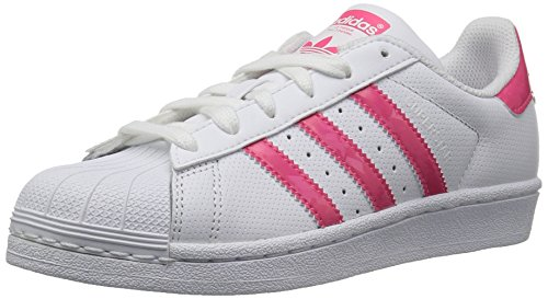 Price comparison product image Adidas Unisex-Kids Superstar J, White/Real Pink/White, 5.5 M US Big Kid