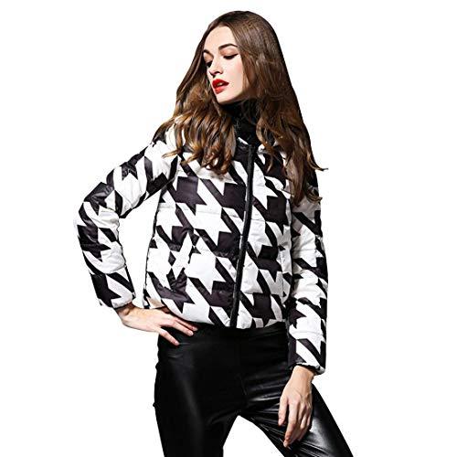 Veste Hiver Femme Elgante Mode Pied De Poule Doudoune  Capuchon Young Styles Warm Manches Longues paissir Outdoor Outerwear Doudoune Manteau Courte Manteau Blanc