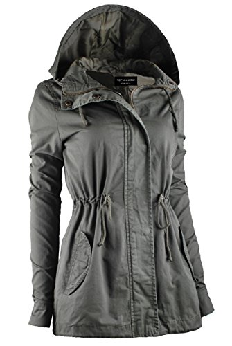 TOP LEGGING TL Women's Utility Militray Anorak Drawtring Parka Hoodie Jackets with Pocket_Olive 1XL