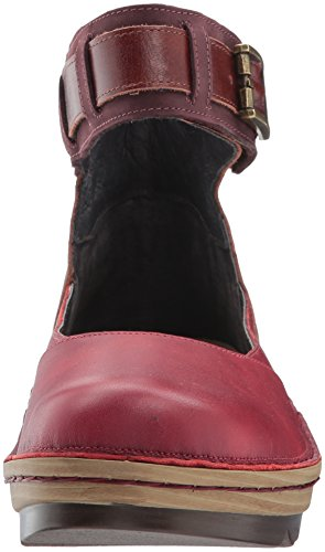 Naot Women Sycamore Mary Jane Flat Berry Leather / Luggage Brown Leather / Violet Nubuck