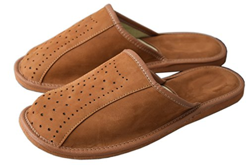 Natleat Slippers  Natural Leather Mens Slippers,  Jungen Herren Durchgängies Plateau Sandalen mit Keilabsatz Brown / 3