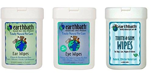 Earthbath Dog Cat Grooming Care Bundle - (1) Each: Ear Wipes, Eye Wipes, Dental Tooth Gum Wipes, 25 Count