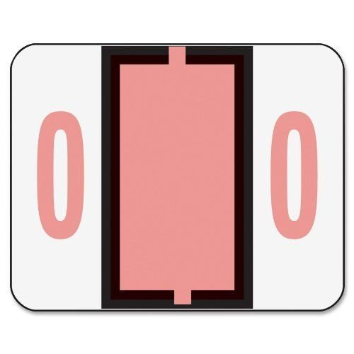 Smead 67370 Single Digit End Tab Labels, Number 0, Pink, 500/Roll ()