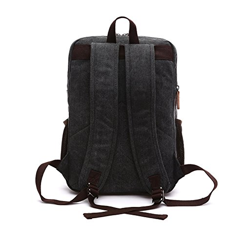 Vrikoo Retro Unisex Canvas Laptop Backpack Large Capacity Shoulder Ruskpack Schoolbag Schwarz