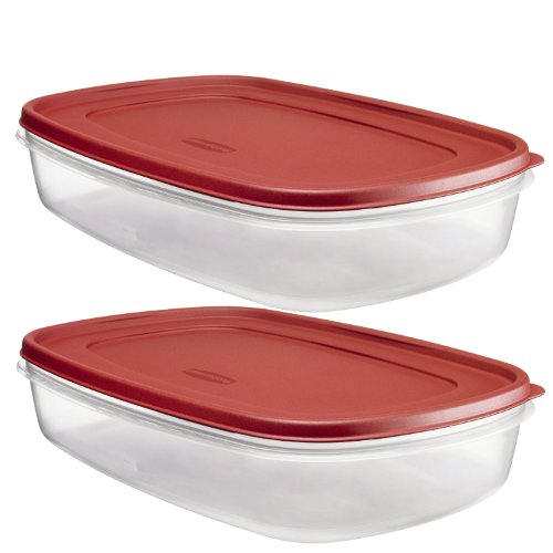 Large Product Image of Rubbermaid Plastic Easy Find Lid Food Storage Container, 1.5 Gal, 1777163 set of 2