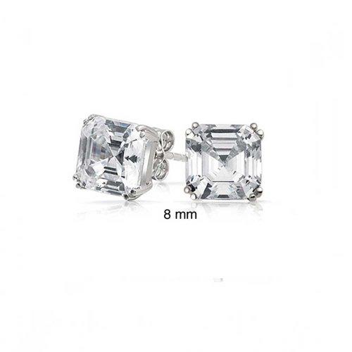 Unisex Asscher Cut Square CZ Stud earrings 925 Sterling Silver 8mm (Asscher Stud)