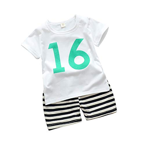 Baby Boy Camouflage T-Shirts Shorts Set YESOT Numbers Print Stripe Pants Children Digital Casual Clothes Set (White, 2-3 Years)