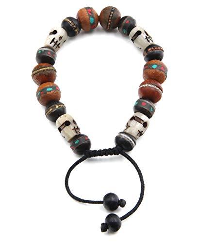 Buddha Groove Bone and Wood Tibetan Skull Bracelet ()