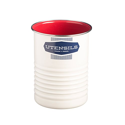 Typhoon Belmont Color-Coated Steel Utensil Pot, 5-Inches by 6-3/4-Inches, White, Red, Blue