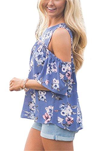 YOGLY Blusas Mujeres Camiseta Verano Camisa de Mujer T-Shirt Impresa sin Tirantes de Cuello Redondo de Manga Corta Elegante de las Mujeres de Moda Azul