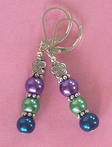Glass Pearl Purple Green Lavender Earring Sp Leverback Artisan Earrings For Women ()