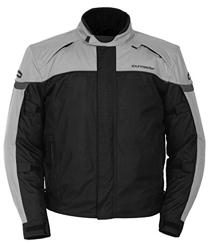 Textile Jacket Series (Tour Master Jett Series 3 Men's Textile Sports Bike Motorcycle Jacket - Silver/Black / Large)