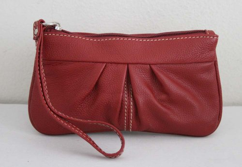 Genuine Leather Ruched Front Wristlet (Ruched Wallet)