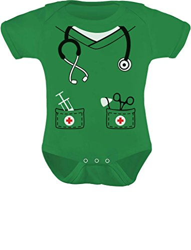 Tstars Infant Doctor, Nurse, Physician Halloween Easy Costume Cute Baby Bodysuit 6M Green -