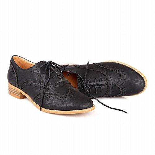 Dames Schoenen Damesmode Lace-up Casual Comfort Lage Hak Oxfords Schoenen Zwart