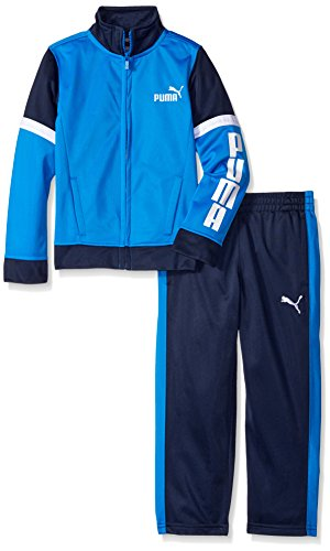- PUMA Boys' Little Tricot Track Jacket and Pant Set, Blue Stripe, 4