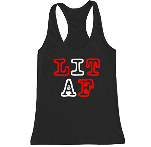 FTD Apparel Women's LIT AF Racerback Tank Top - XL Black