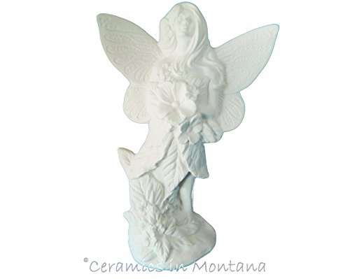 Ceramic Bisque Fairy Standing w Flowers - Ready to Paint - Handcrafted in The USA