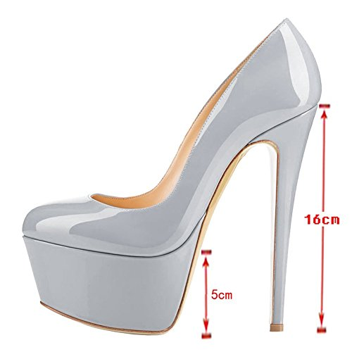Toe Stiletto Pumps Heels Platform 7 Shoes Dress High Size Round Grey Women FqfUTT