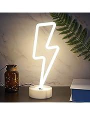 LED Neon licht teken, bliksembout neon teken met houder, USB/Batterij Operated Neon-tekens voor Wall Decor LED Tekens voor Slaapkamer Decoraties Game Room Decor voor heren (Color : White)