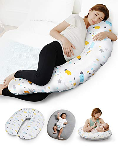 Unilove Pregnancy Pillow - Hopo 7-in-1 Full Body Maternity & Baby Pillow Converts to Newborn Lounger, Made w/ Soft Breathable Materials Perfect for Sleeping, Breastfeeding & Sitting, Bamboo Gray