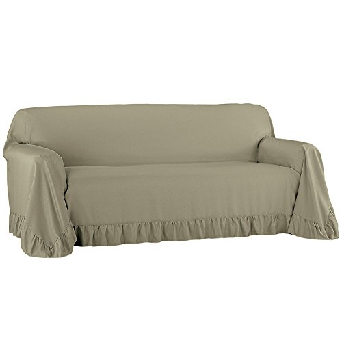 Collections Etc Ruffled Throw Furniture Protector Cover, Easy Fit Tuck in Place, Sage, Sofa
