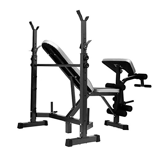 Jaketen Professional Olympic Weight Bench - Adjustable Multi-Functional Workout AB Bench Set with Preacher Curl, Leg Developer for Indoor/Home Exercise Fitness (Upright 6 3 Rack Flat)
