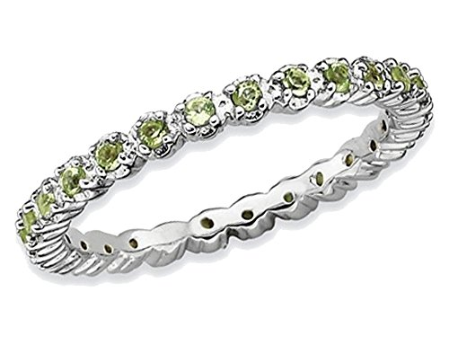 Natural Green Peridot 1/2 Carat (ctw) Eternity Band Ring in Sterling Silver by Gem And Harmony