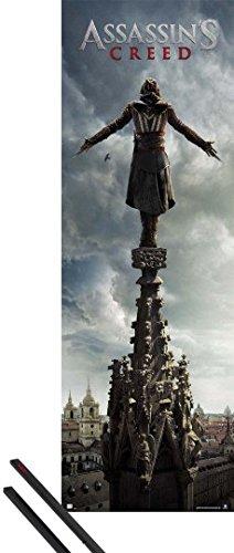1art1 Poster + Hanger: Assassin's Creed Door Poster (62x21 inches) Top and 1 Set of Black Poster Hangers