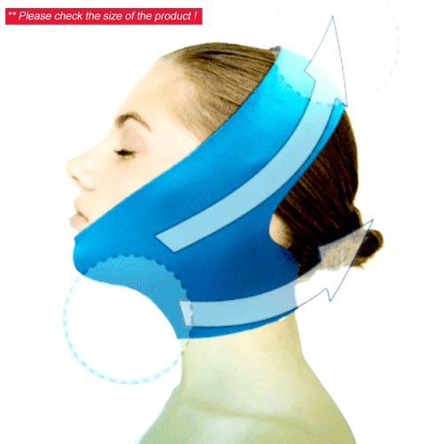 New Version Beauty V-Line Face Chin Neck Facial Skin Lift Up Belt Mask - Blue by Dexac -