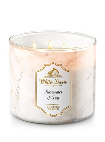 Bath and Body Works White Barn Candle Rose Water Ivy 3 Wick Candle 14.5 Ounce Marbled Jar