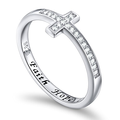DAOCHONG Inspirational Jewelry Sterling Silver Engraved Faith Hope Love Sideway Cross Ring, Size 6 7 8 (8) ()