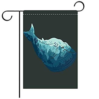 BEICICI Custom Personalized Garden Flag Outdoor Flag Double Exposure, Whale and Ocean Underwater World Decorative Deck, Patio, Porch, Balcony Backyard, Garden or Lawn