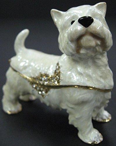 - West Highland White Terrier White Dog Tiffany Style Jewelry Jeweled Trinket Box 1396