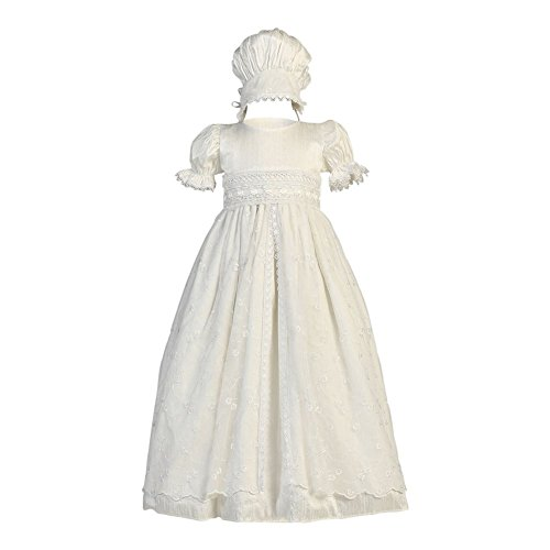 Lito Baby Girls Antique White Embroidered Tulle Overlay Baptism Silk Gown 0-3M