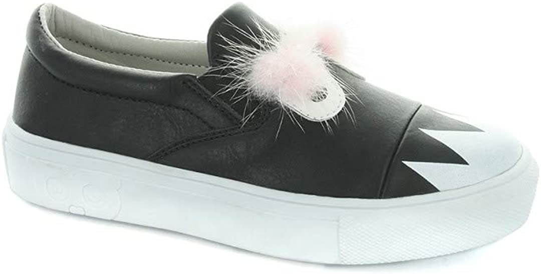 HOO Charlie Monster Fur Slip-On Sneaker, 3 (Little Kid) Black