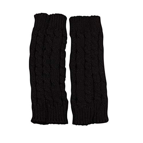 Damen Winter Halb Handschuhe, Damen Armstulpen Wärmer Strick Kurzer Gestrickte Fingerlose Armstulpen Fäustlinge MiMiey (Black)