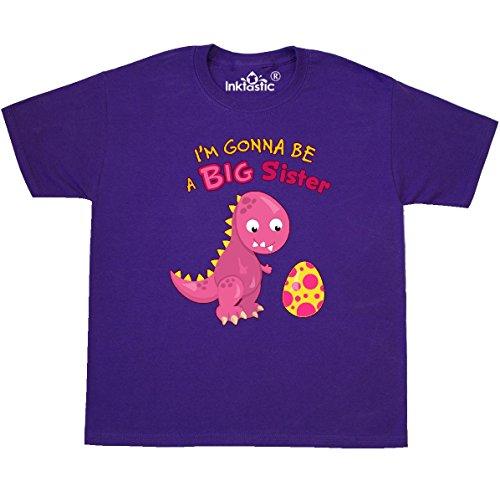 inktastic - Dinosaur Future Big Sister Youth T-Shirt Youth Small (6-8) Purple