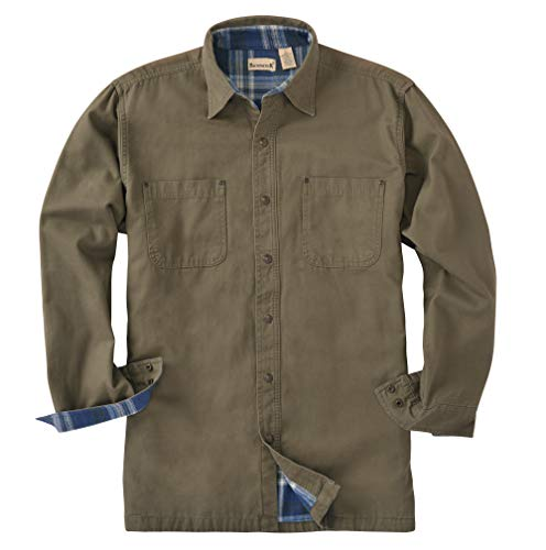 Backpacker Canvas/Flannel Lined Shirt Jacket, Moss Green, X Large ()