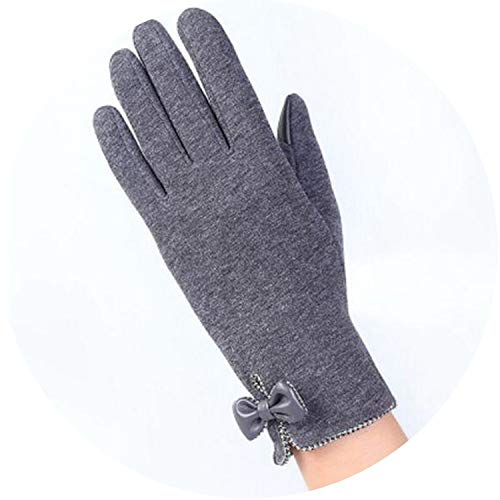 Touched Screen Gloves Lace Bowknot Female Winter Warm Gloves Elegant Flocking Warmer Gloves,E gray