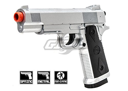 (CYMA 1911 Tactical Chrome Metal Spring Pistol (Silver))