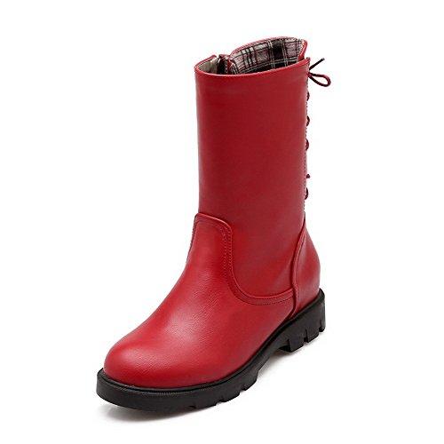 AllhqFashion Womens Solid Kitten-Heels Round Closed Toe PU Zipper Boots Red