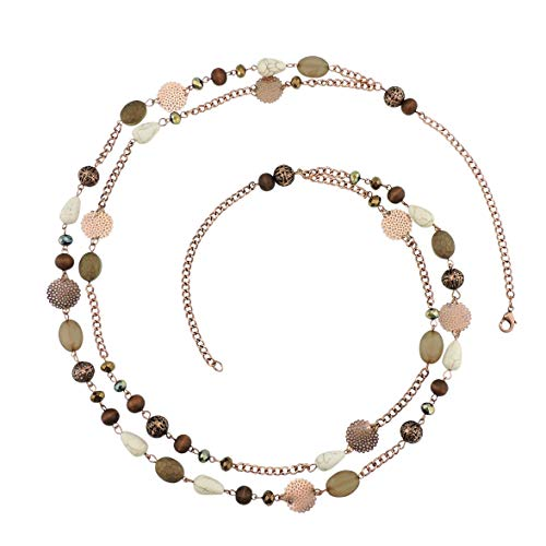 Bocar 14K Gold Plated Link Chain 2 Layer Crystal Wood Acrylic Colorful Women Party Long Necklace Gift (NK-10084-brown) (Handmade Necklace Beaded)