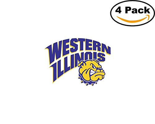 Western Illinois Leathernecks 1 4 Stickers 4X4 inches Car Bumper Window Sticker Decal