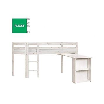 Flexa Bett Mi Oben Büro Kiefer Nagellack Gebleicht Liegefläche 90 X