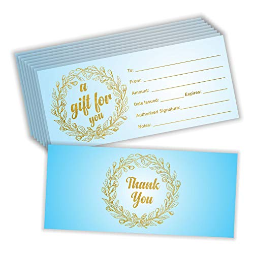 Blank Gift Certificates for Business (Pack of 25) Luxury Gold Foil Stamping 4
