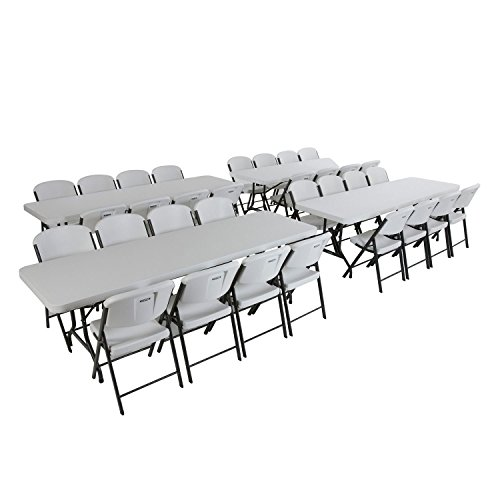 Amazon.com: Lifetime Combo (4) 8u0027 Banquet Table And (32) Commercial Folding  Chair   White Granite: Kitchen U0026 Dining